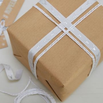 Festive Ribbon & Twine, Grey Stag Ribbon & White Twine